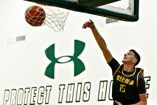 Rob Mahala is shown during a Siena men's basketball practice last season. (Erica Miller)