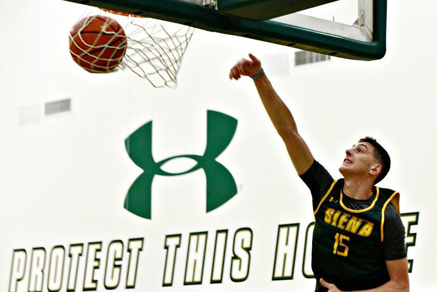 Rob Mahala is shown during a Siena men's basketball practice last season. (Erica Miller)