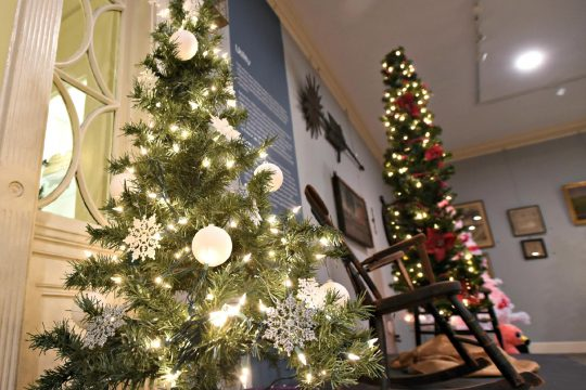 Christmas trees on display at the Schenectady County Historical Society. (Stan Hudy/Staff Wruter)
