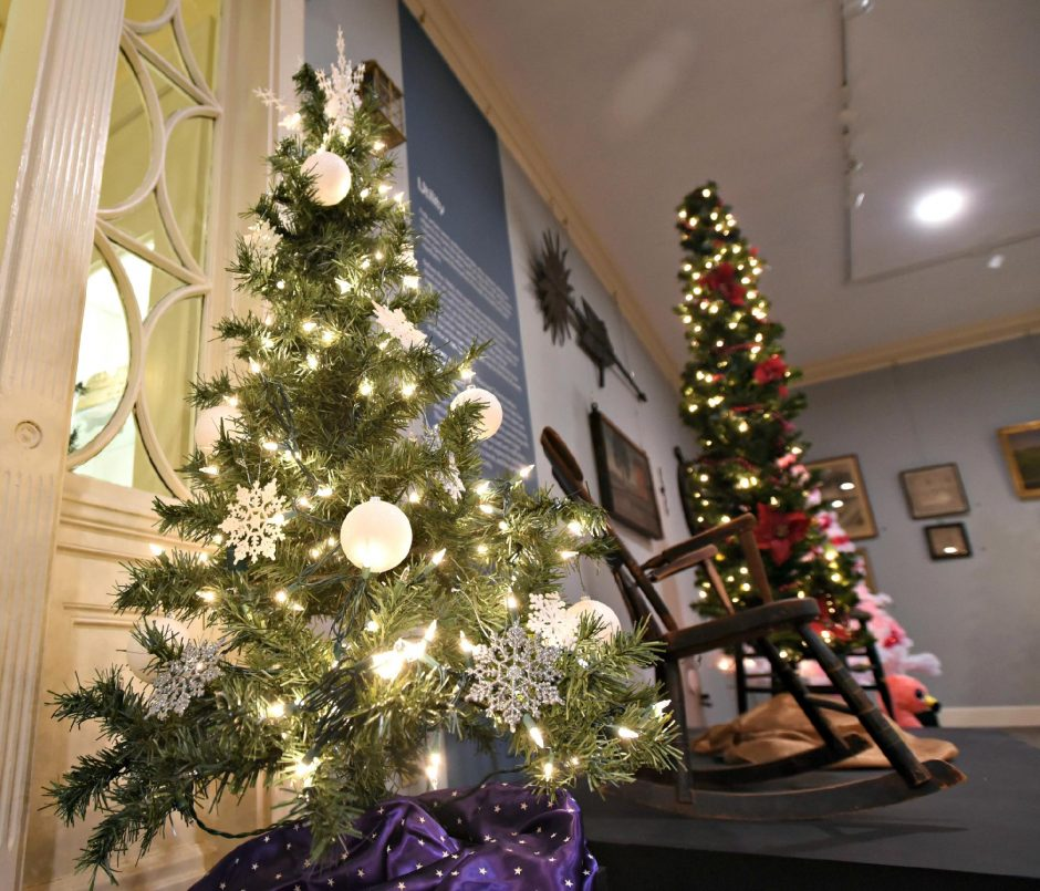 Christmas trees on display at the Schenectady County Historical Society. (Stan Hudy/Staff Writer)