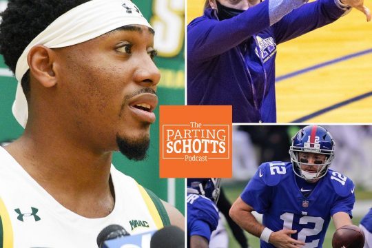 """Siena men's basketball junior Jalen Pickett, UAlbany's women's basketball head coach Colleen Mullen and the New York Giants are the topics on the latest """"The Parting Schotts Podcast."""""""