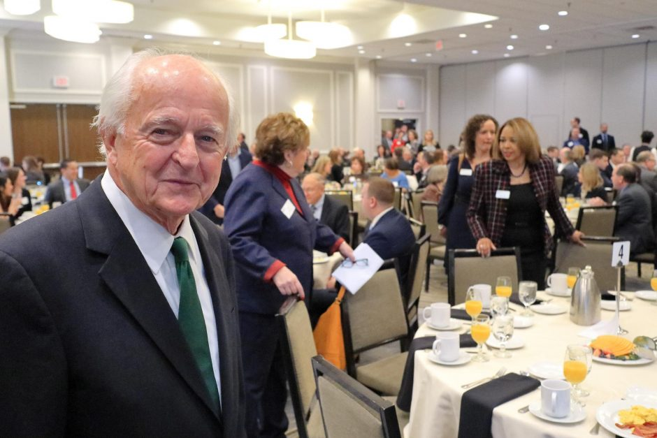 JOHN CROPLEY/GAZETTE BUSINESS EDITORAlbany-based economist Hugh Johnson is shown before delivering his annual economic forecast for the Capital Region Chamber in Albany on Friday, Nov. 30, 2018.