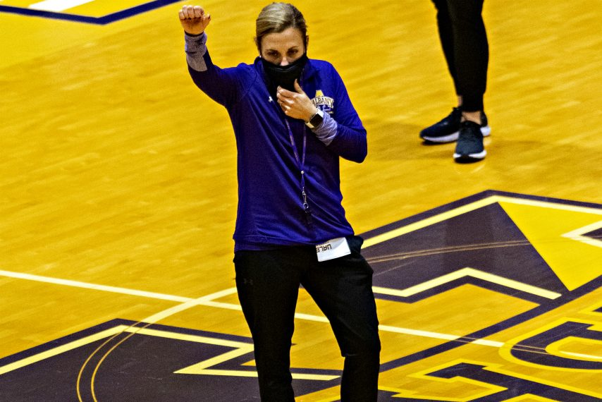 Colleen Mullen is shown at a recent UAlbany women's basketball preseason practice. (Gazette file photo)
