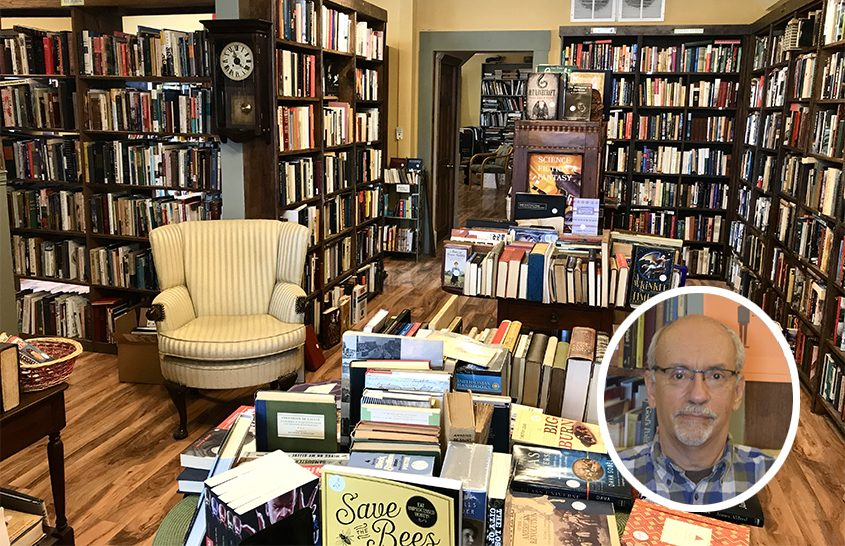 Inside W. Whitman Books in Middleburgh. Inset: Owner Douglas Guevara. (Indiana Nash and provided photo)