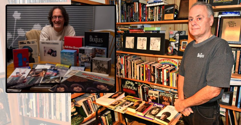 Background: Rick Pepe stands in front of his John Lennon collection of books in the basement of his Princetown home. Inset: Bob Lennon of Amsterdam with his Beatles memorabilia. Credit: Stan Hudy (background) Peter R. Barber (inset)