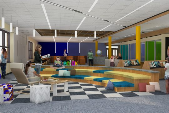 An artist's rendering of the proposed Geyser Road Elementary library renovation. (photo provided)