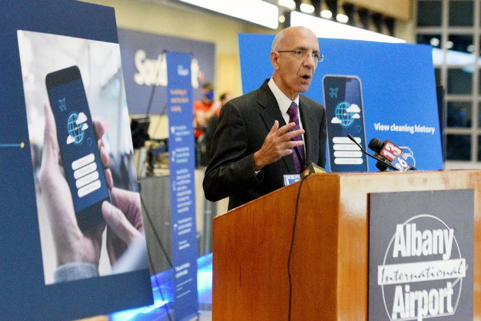 Albany International Airport CEO Philip Calderoneis shown speaking at a press conference last month. (Erica Miller/Staff Photographer)