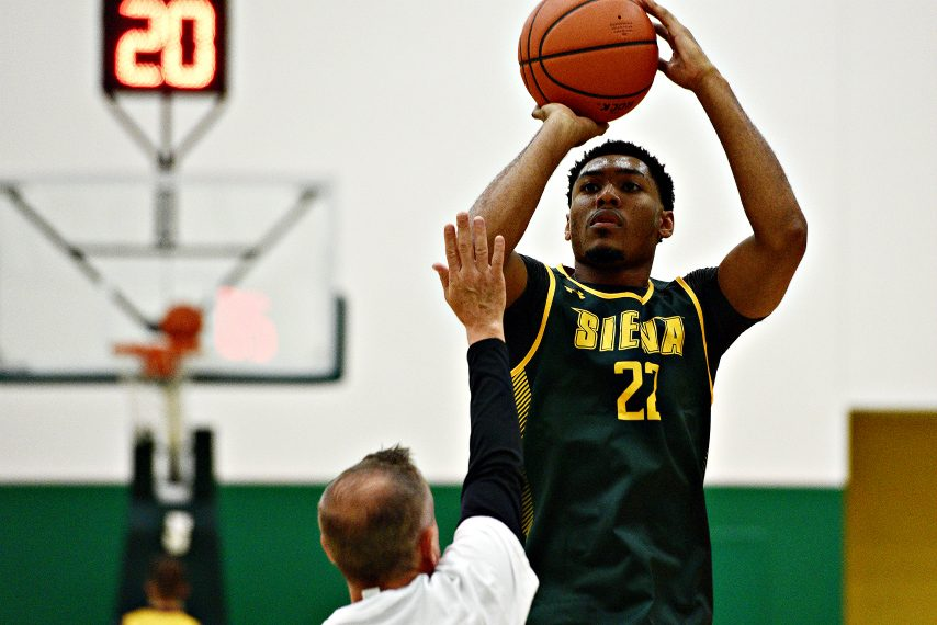Siena men's basketball's Jalen Pickett is shown last year during a practice. (Gazette file photo)