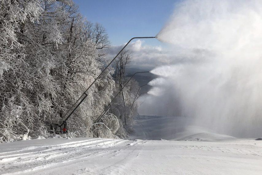 OKEMO MOUNTAIN PHOTOTower snow guns produce snow at Okemo Mountain in Ludlow, Vermont.
