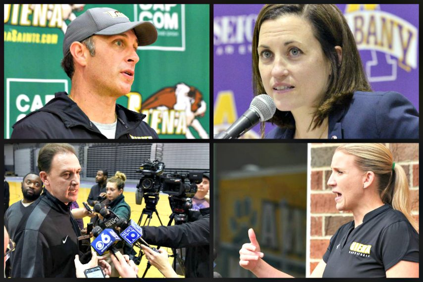The Capital Region's four Division I basketball coaches are shown. (Gazette file photos)