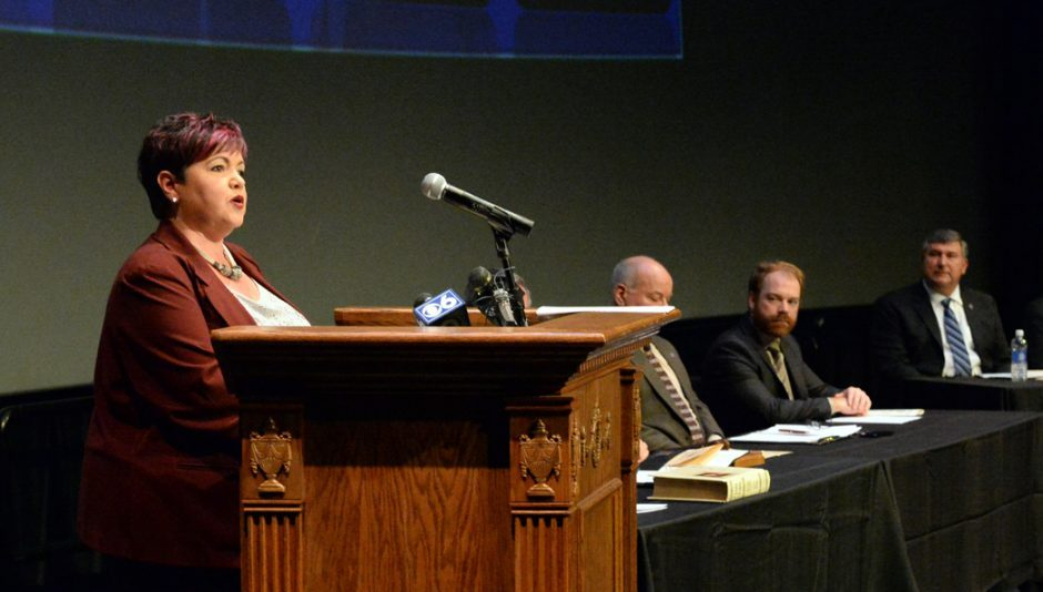 Leesa Perazzo speaks during the City Council Organizational Meeting, at the G.E. Theater at Proctorsin 2016.
