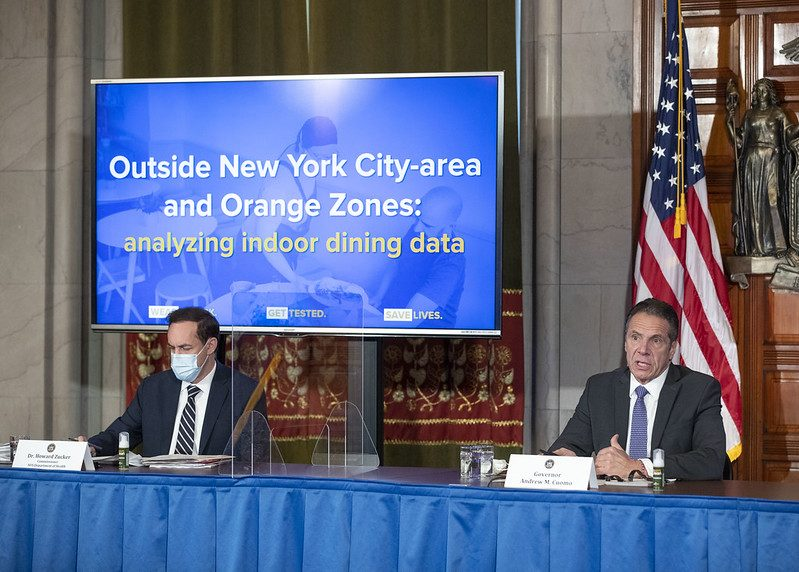 GOVERNOR'S OFFICEGov. Andrew Cuomo delivers a COVID-19 update Friday in Albany.