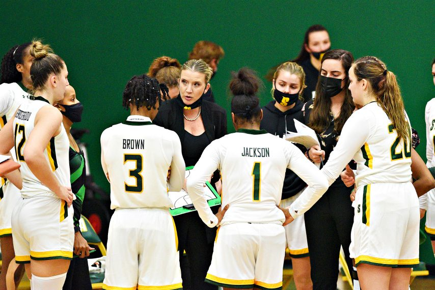The Siena women's basketball team is shown during Friday's game. (Erica Miller)