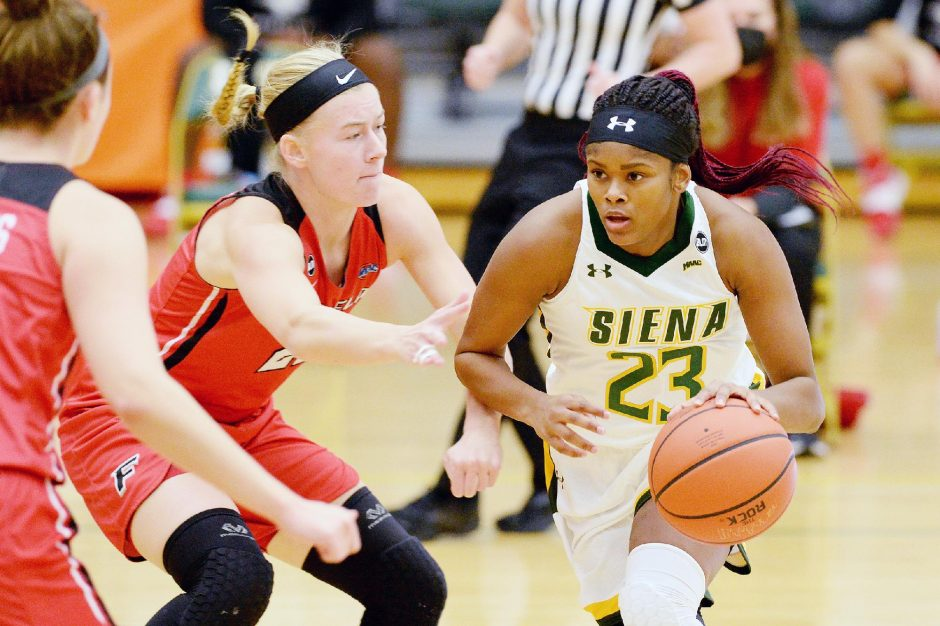 Erica Miller/Staff PhotographerSiena's Isis Young scored 13 points in the Saints' 76-44 loss to Fairfield on Saturday at Alumni Recreation Center.