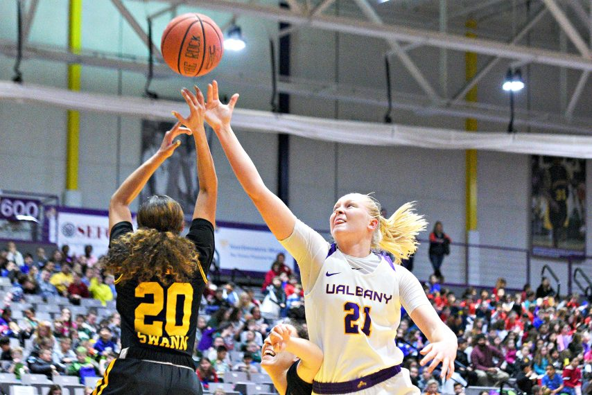 UAlbany's Helene Haegerstrand, right, scores 26 points in the Great Danes' win Sunday at Seton Hall. (Gazette file photo)