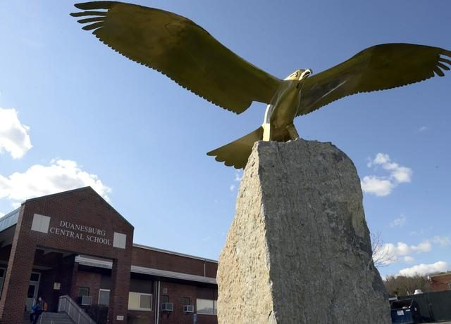 Duanesburg High School Eagle mascot monument in front of the school in Delanson in 2014.
