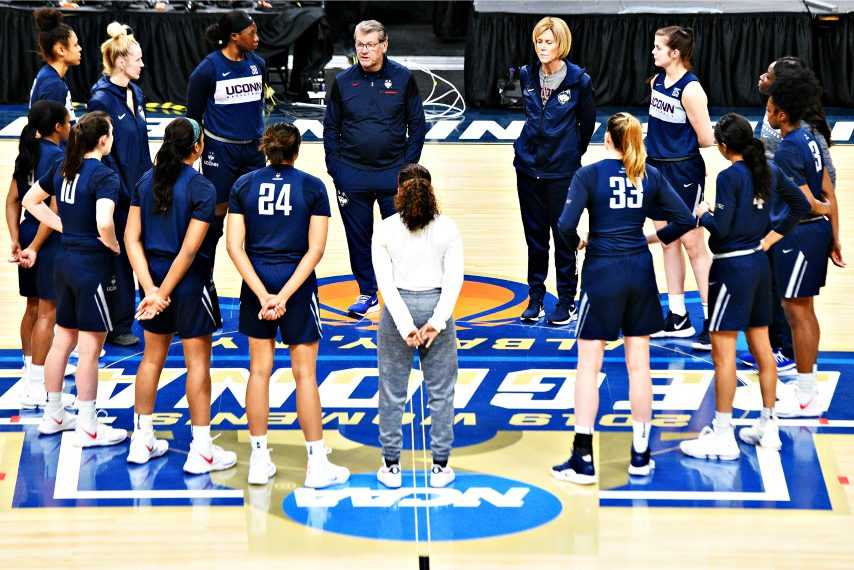 The UConn women's basketball program is shown during a practice in Albany prior to an NCAA tournament game. (Gazette file photo)