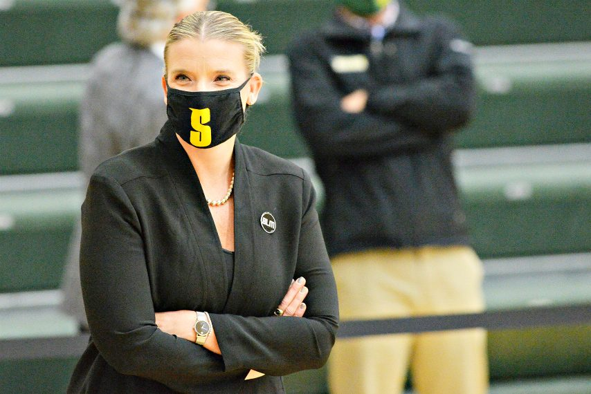 Siena women's basketball head coach Ali Jaques is shown during last Friday's game. (Erica Miller)