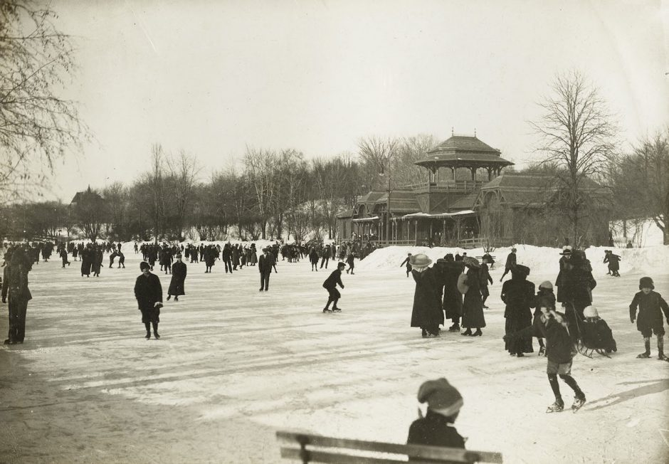 This 1912 photograph of people on the skating pond in Albany's Washington Park is part of the Albany Institute of History & Art outdoor pop-up exhibit, featuring archival photos and images of winter scenes. The exhibit can be found along Washington Avenue and can be viewed through Jan. 3.