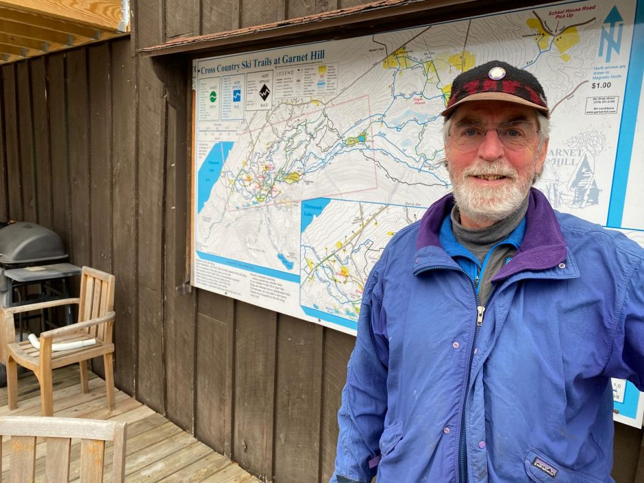 Phil Johnson photoDick Carlson, the president of The Cross Country Ski Areas of New York, stands outside at Garnet Hill Lodge.