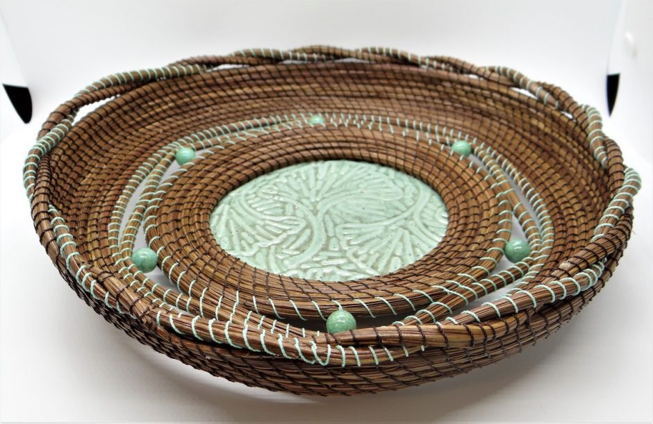 One of Daine Babin's finished baskets.
