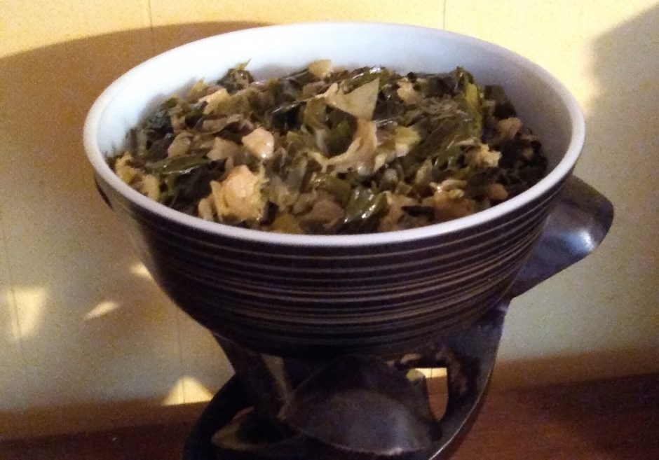 Collards and cabbage made by Miki Conn for Thanksgiving.