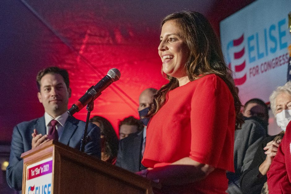 ERICA MILLER/STAFF PHOTOGRAPHER U.S. Rep. Elise Stefanik speaks to her supporters on Election Night in Glens Falls on Nov. 3.