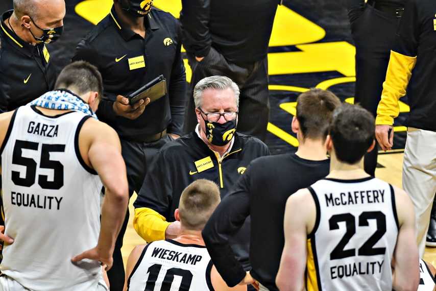 Iowa head coach Fran McCaffery talks with his team during a recent game against North Carolina Central. (Jeffrey Becker-USA TODAY Sports)