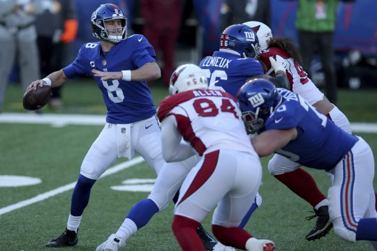 New York Giants quarterback Daniel Jones in action against the Arizona Cardinals during an NFL football game on Sunday, Dec. 13, 2020, in East Rutherford, N.J. (Brad Penner/The Associated Press Images for Panini)