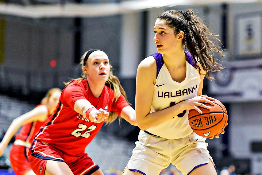Lucia Decortes, right, is off to a strong start this season for UAlbany. (Bill Ziskin/UAlbany Athletics)