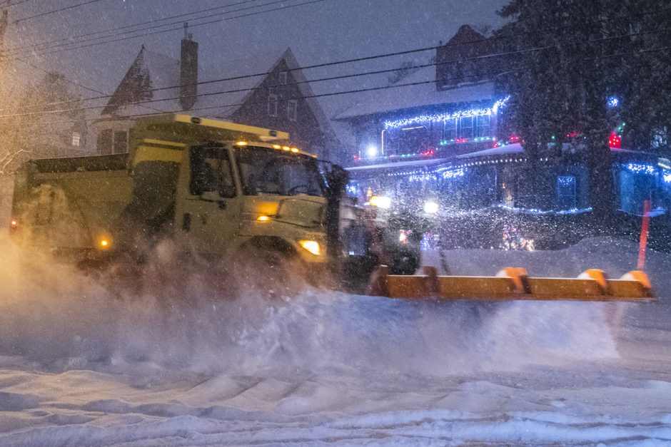 A City of Schenectady snow plow clears a path on Union Street early Thursday, December 17, 2020.