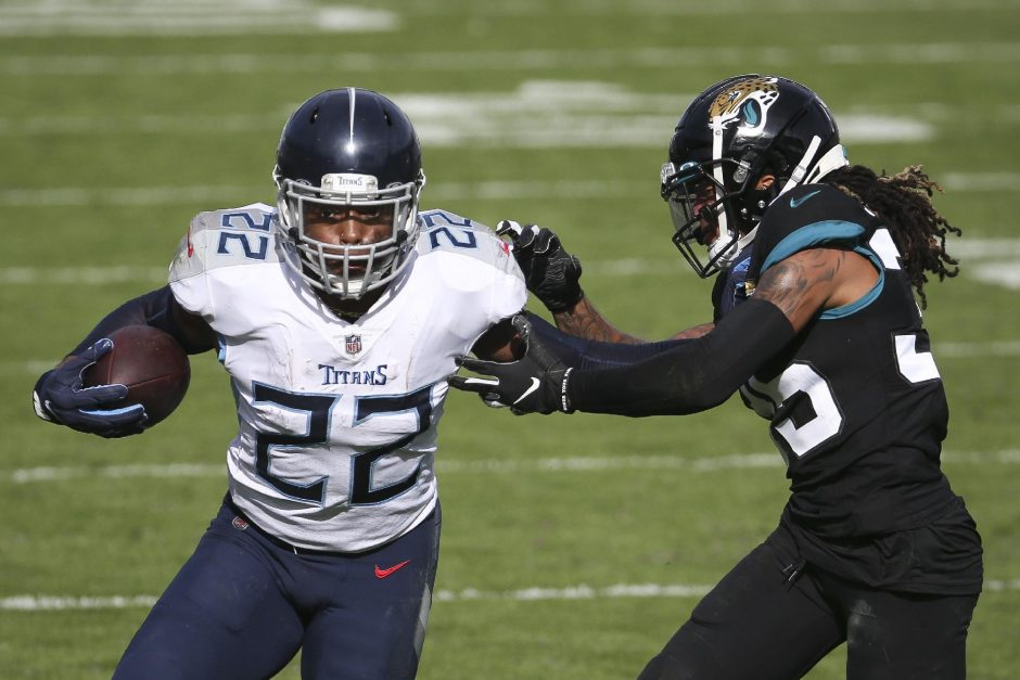 Stephen B. Morton/The Associated PressTennessee Titans running back Derrick Henry gains yardage as he tries to get around Jacksonville Jaguars cornerback Sidney Jones during last Sunday's game in Jacksonville, Fla.