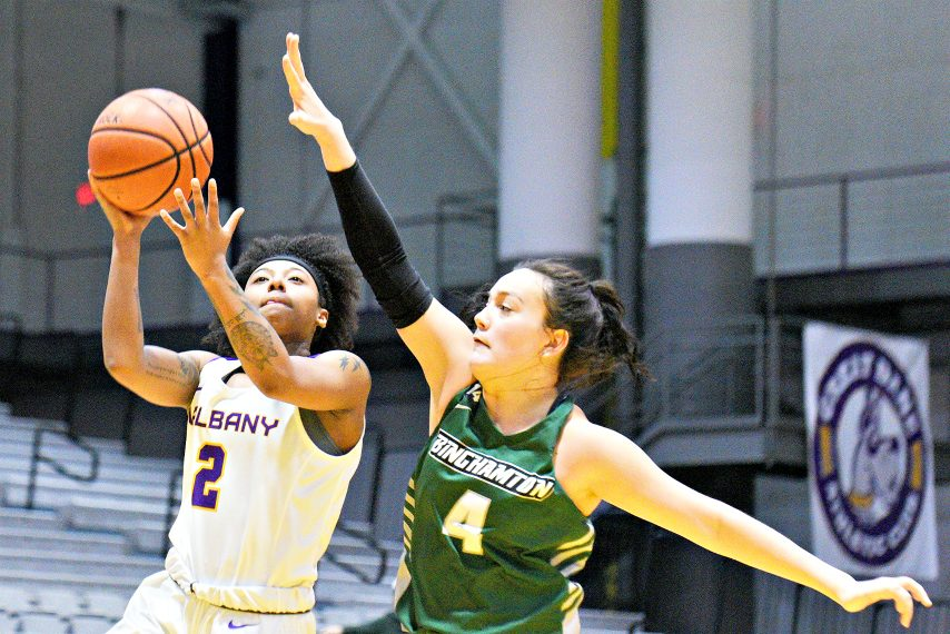 Kyara Frames, left, and the UAlbany women's basketball team start league play Saturday. (Gazette file photo)