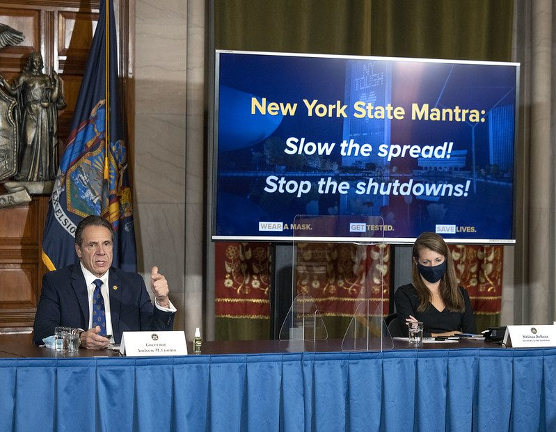 GOVERNOR'S OFFICEGov. Andrew Cuomo provides an update on the pandemic Friday at the state Capitol.