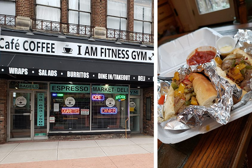 The tiny Cafe Coffee on lower State Street in Schenectady. Right: sausage, peppers and onions sub. (Beverly M. Elander/For The Daily Gazette)