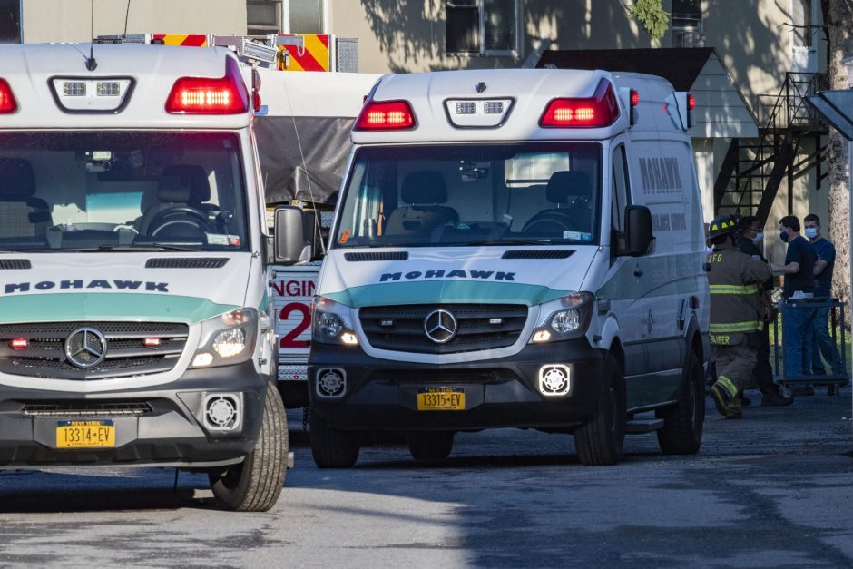 Ambulances at the scene in August.