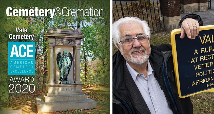 Left:The cover of American Cemetery & Cremation magazine features Vale Cemetery and the angel of the Veeder family plot.Right:Gordan Zuckerman, president of the Vale Cemetery Board of Directors. (Photos: Chris Leonard/Peter R. Barber)