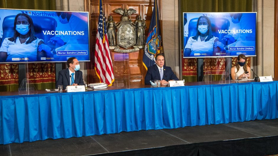 OFFICE OF THE GOVERNORGov. Andrew Cuomo, center, discusses the COVID-19 pandemic at a press conference on Monday.
