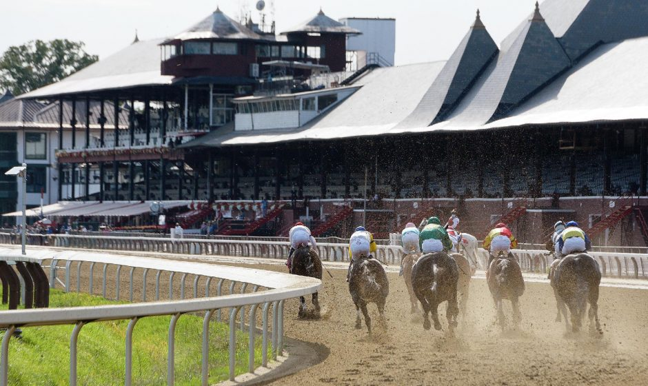 Horses make the final turn at Saratoga Race Course this past racing season.
