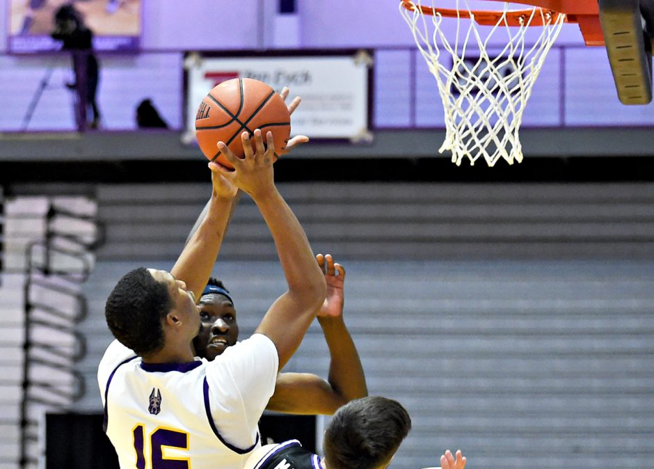 UAlbany'sCJKellygoes for a shot during Tuesday's game against Niagara at SEFCU Arena in Albany. (Photo courtesyKathleen Helman/UAlbany Athletics)