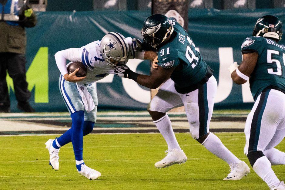 Philadelphia Eagles defensive tackle Fletcher Cox sacks Dallas Cowboys quarterback Ben DiNucci during the fourth quarter at Lincoln Financial Field on Nov. 1. (Bill Streicher/USA TODAY Sports)