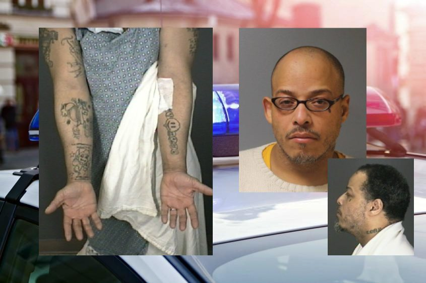 Jerson Vargas and his tattoos. Credit: Colonie Police (insets); Shutterstock (background)