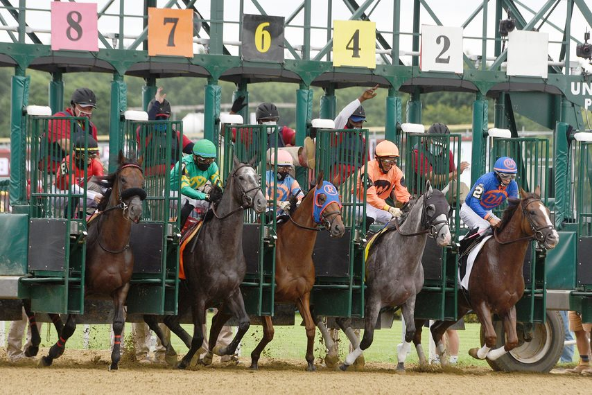 Racing gets underway as horses leave the gate for the first race of the 2020 season at Saratoga Race Course on July 16.