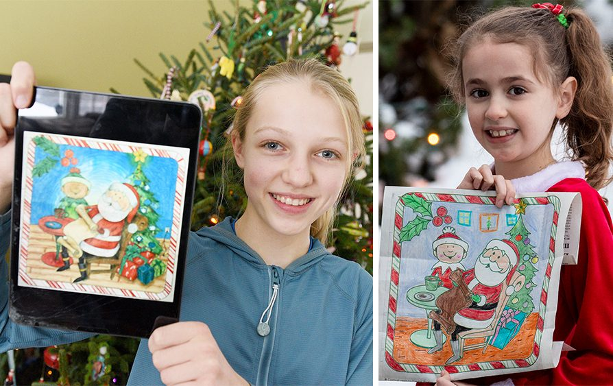 Daily Gazette Christmas Coloring Contest winners Haley Garrett, left, and Eve Bohall pose with their entries at their homes in Niskayuna and Glenville, respectively, on Tuesday. (Erica Miller/Peter R. Barber/Staff Photographers)