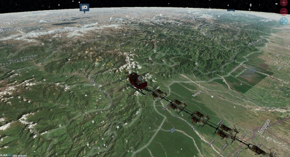 Santa Claus delivers presents in Bangladesh.