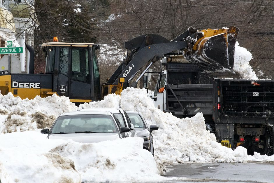 City road crews continure snow removal at Avenue B and Mason Street in Schenectady Wednesday, December 23, 2020.