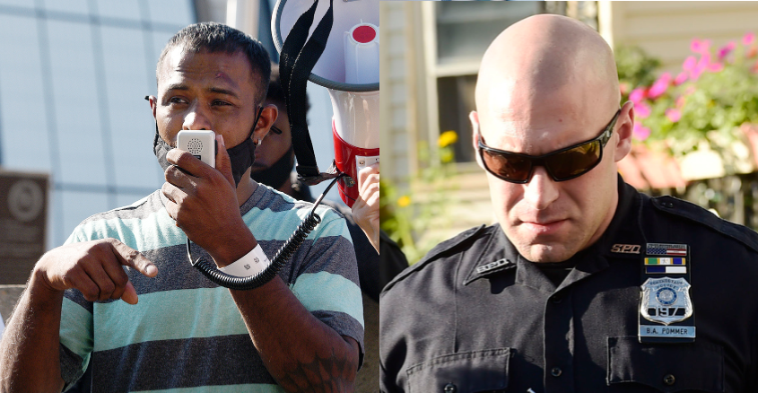 Yugeshwar Gaindarpersaud is pictured in left photo; Officer Brian Pommer is  pictured in 2018 in right photo.