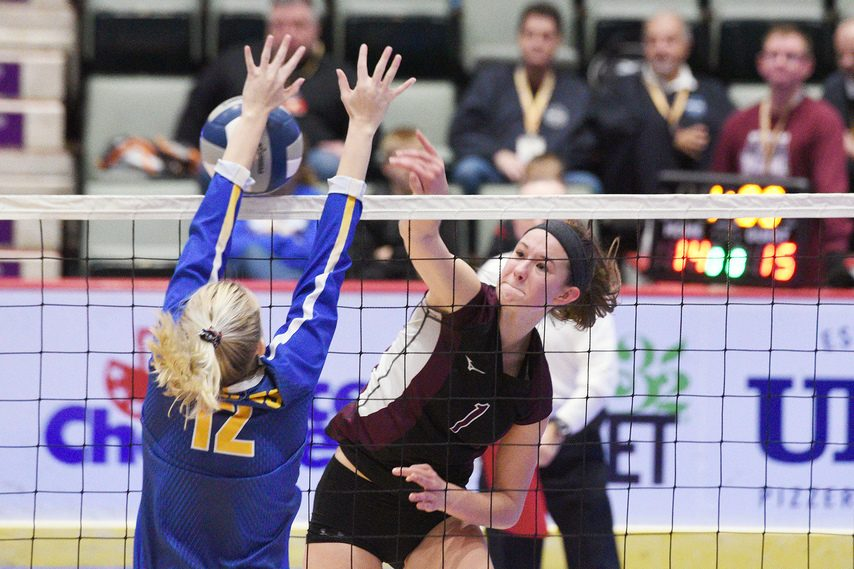 Carlie Rzeszotarski of Burnt Hills-Ballston Lake goes for a kill during the 2019 Class A state volleyball championship against West Irondequoit at Cool Insuring Arena in Glens Falls.