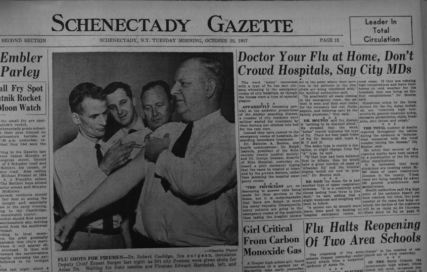 The front page of the Oct. 22, 1957 Schenectady Gazette.