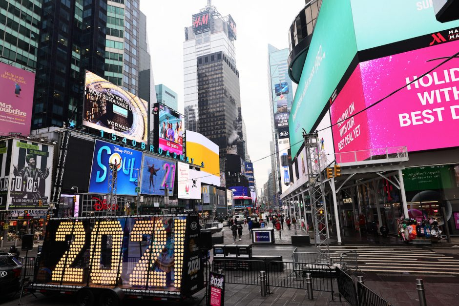 The New Year's Eve numerals are lit up while on display in Times Square on Dec. 21, 2020 in New York City.